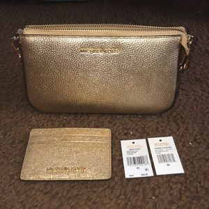michael kors gold clutch and cardholder set, nwt!